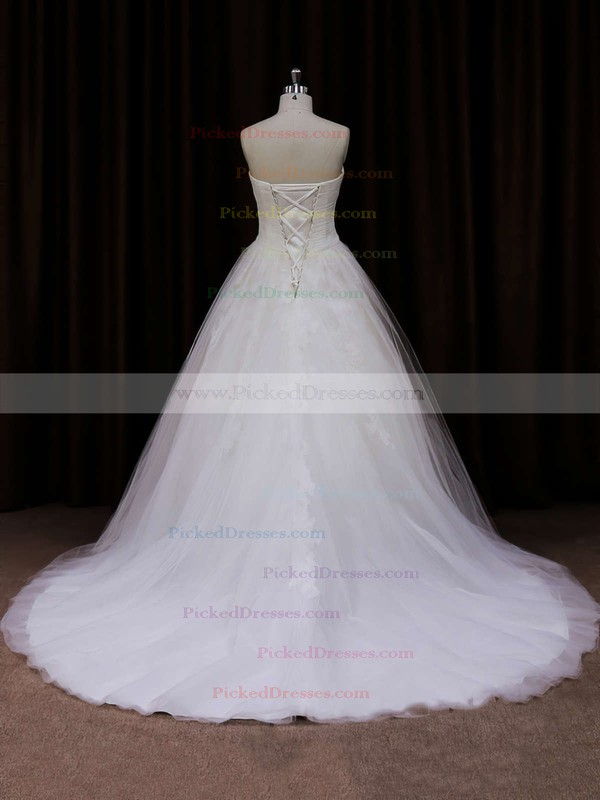 Ivory Court Train Tulle Appliques Lace Sweetheart Lace-up Wedding Dresses #PDS00021639