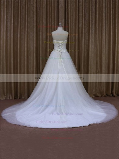 Affordable Ivory Tulle Sashes / Ribbons Chapel Train Sweetheart Wedding Dresses #PDS00021640