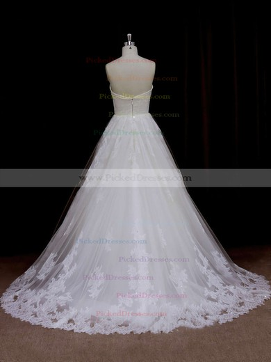 Sweep Train Ivory Tulle Beading Sweetheart Beautiful Wedding Dresses #PDS00021641