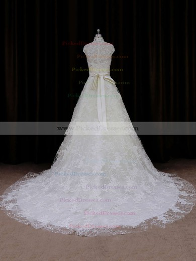 Ivory Court Train Lace Sashes / Ribbons Cap Straps High Neck Wedding Dresses #PDS00021642
