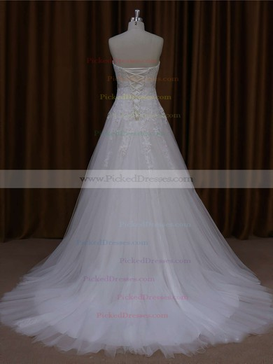 Ivory Sweetheart Tulle Appliques Lace Inexpensive Court Train Wedding Dresses #PDS00021643