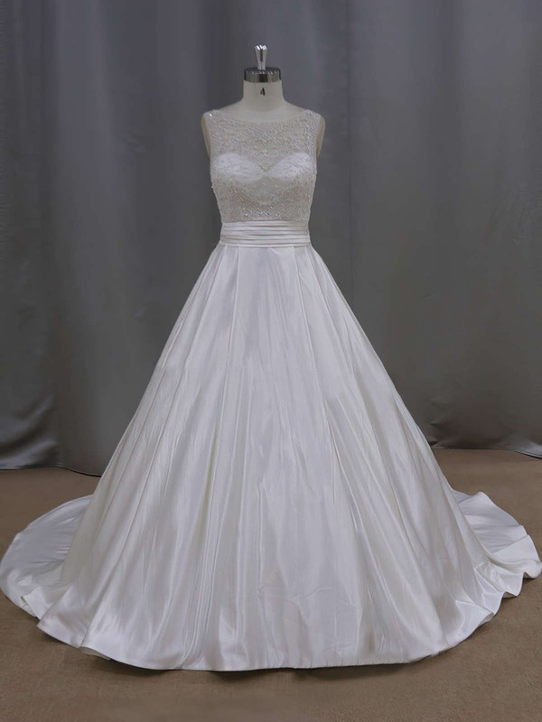 Elegant Court Train Ivory Satin Pearl Detailing Scoop Neck Wedding Dresses #PDS00021645