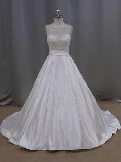 Elegant Court Train Ivory Satin Pearl Detailing Scoop Neck Wedding Dresses #PDS00021645