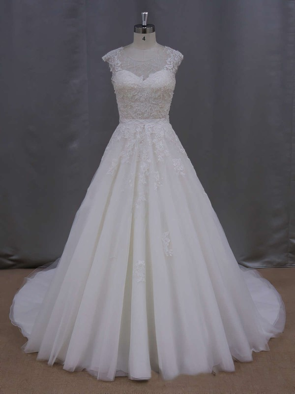 Ball Gown Tulle Appliques Lace Cap Straps Scoop Neck Ivory Wedding Dresses #PDS00021646