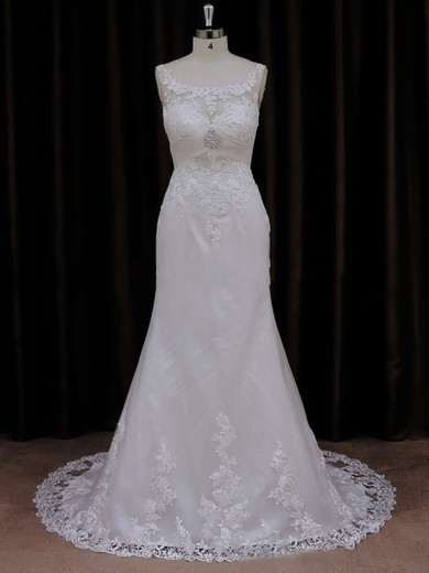 Simple Scoop Neck Ivory Tulle Appliques Lace Trumpet/Mermaid Wedding Dresses #PDS00021647