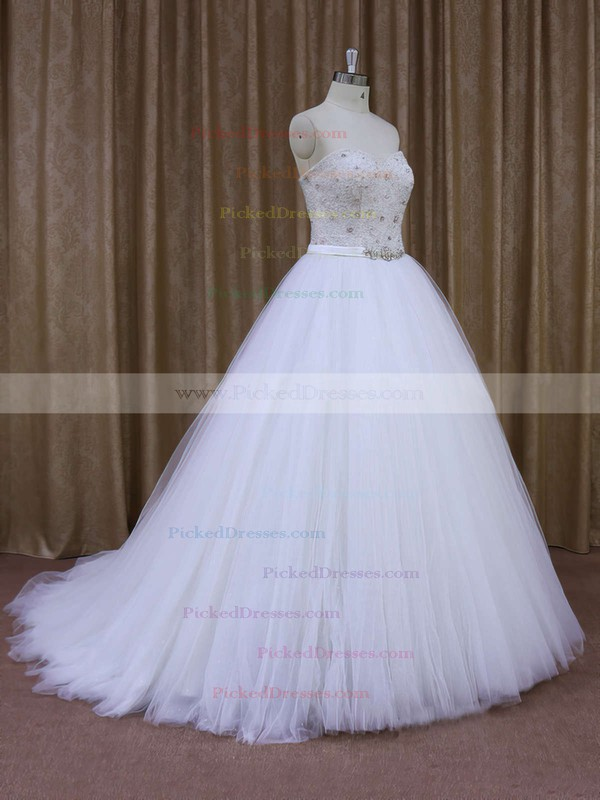 Fabulous Sweep Train Tulle Pearl Detailing White Sweetheart Wedding Dresses #PDS00021651