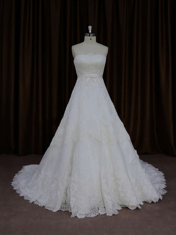 A-line Ivory Tulle Appliques Lace Court Train Lace-up Wedding Dress #PDS00021652