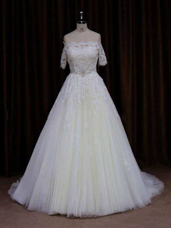Short Sleeve Off-the-shoulder Ivory Tulle Beading Court Train Wedding Dress #PDS00021654