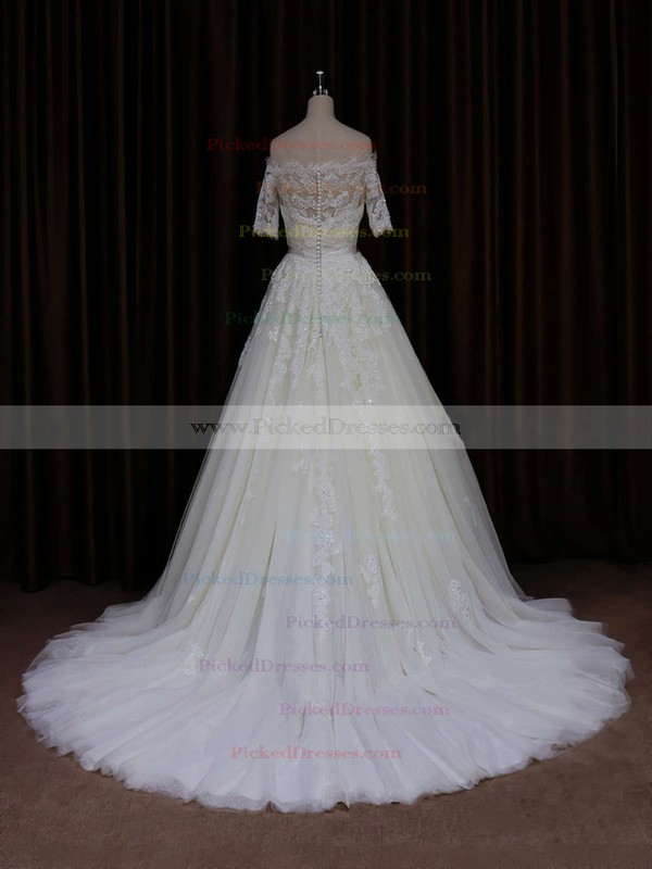 Short Sleeve Off-the-shoulder Ivory Tulle Beading Court Train Wedding Dress #PDS00021654