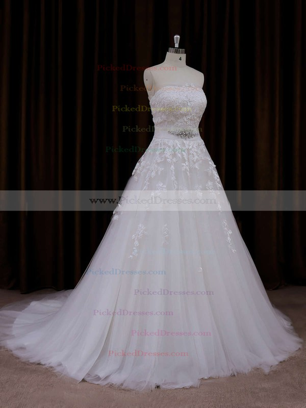 Fashion Strapless Ivory Tulle Appliques Lace Court Train Wedding Dress #PDS00021660