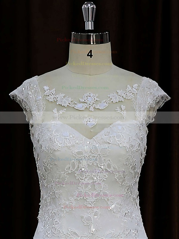 Chapel Train Tulle Appliques Lace Cap Straps Scoop Neck Ivory Wedding Dress #PDS00021664