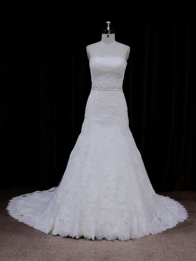 Strapless Ivory Lace-up Tulle Appliques Lace Chapel Train Wedding Dress #PDS00021667