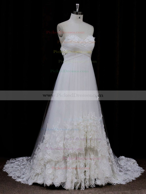 Popular Sweetheart Ivory Tulle Appliques Lace Empire Wedding Dress #PDS00021678