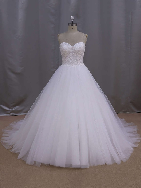 White Sweetheart Lace-up Tulle Beading Court Train Wedding Dress #PDS00021679