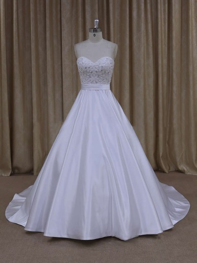 Ivory Sweetheart Satin with Beading Unique Court Train Wedding Dresses #PDS00021686