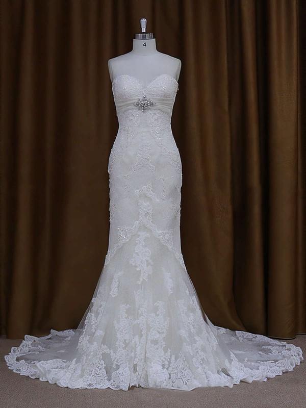 Sweetheart Ivory Lace Beading Lace-up Chapel Train Wedding Dresses #PDS00021687
