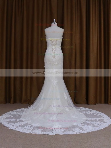 Sweetheart Ivory Lace Beading Lace-up Chapel Train Wedding Dresses #PDS00021687