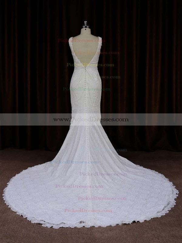 Ivory V-neck Lace Buttons Trumpet/Mermaid Online Wedding Dresses #PDS00021688