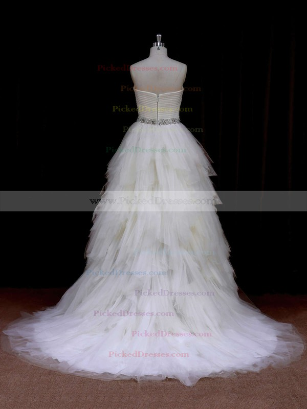 Sweetheart Ivory Modest Tulle Tiered Princess Wedding Dresses #PDS00021691