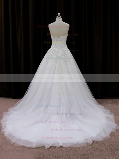 Court Train Ivory Tulle Appliques Lace Beautiful Strapless Wedding Dresses #PDS00021694