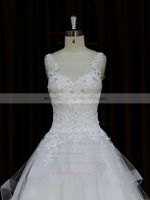 Ball Gown Ivory Lace-up Tulle Appliques Lace V-neck Wedding Dresses #PDS00021695
