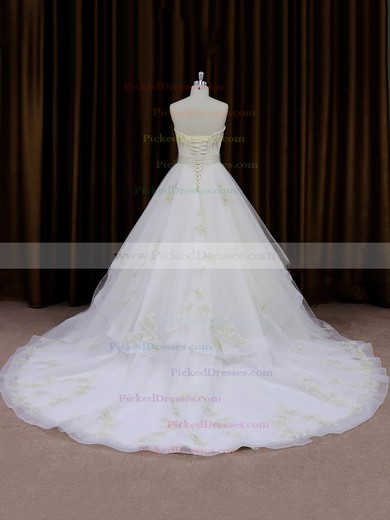 Inexpensive Chapel Train Ivory Organza Appliques Lace Sweetheart Wedding Dresses #PDS00021696
