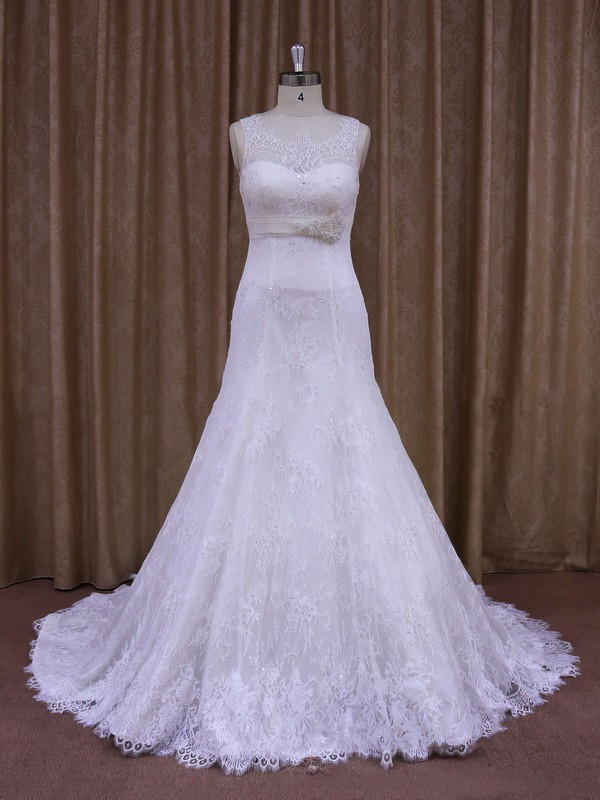 White Court Train Lace Sashes / Ribbons Elegant Scoop Neck Wedding Dresses #PDS00021697