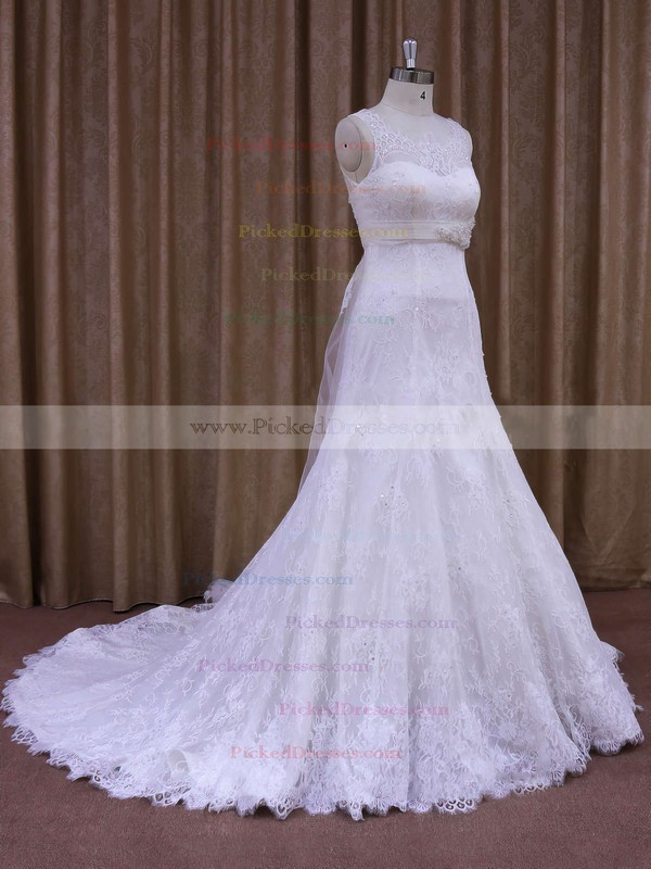 White Court Train Lace Sashes / Ribbons Elegant Scoop Neck Wedding Dresses #PDS00021697