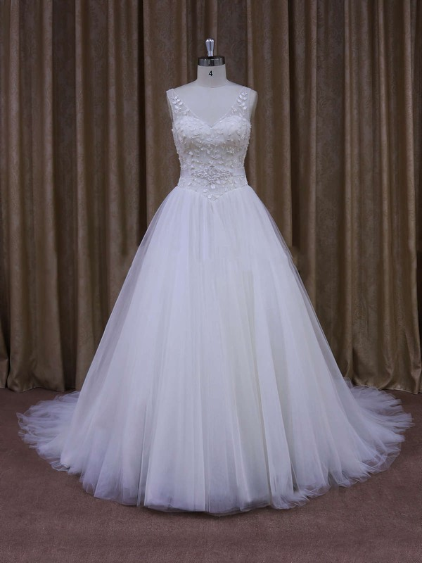 Discount V-neck Ball Gown Crystal Detailing White Tulle Wedding Dresses #PDS00021699