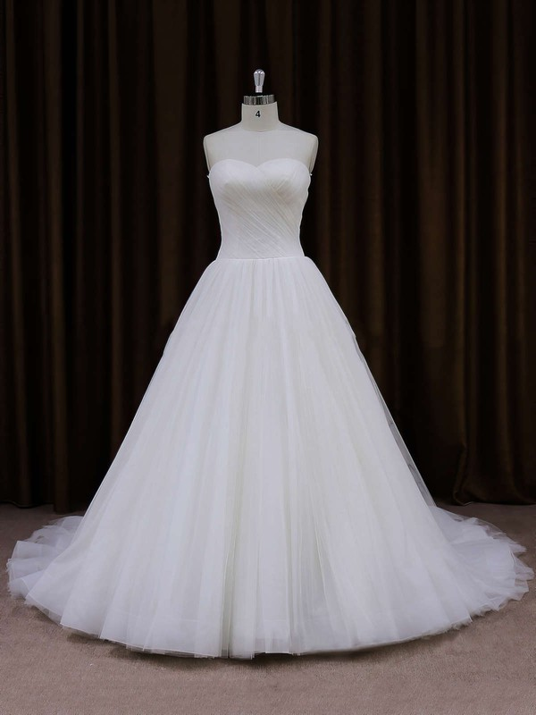 Sweetheart Ivory Tulle Ruffles Chapel Train Inexpensive Wedding Dresses #PDS00021701