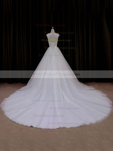 Ball Gown Ivory Tulle Appliques Lace Open Back Cathedral Train Wedding Dresses #PDS00021704