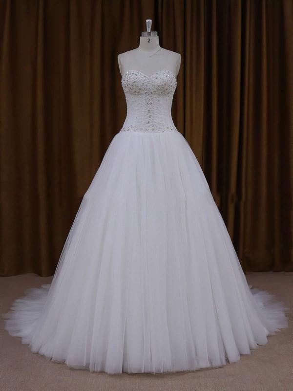 Sweetheart Ivory Tulle Beading Lace-up Princess Wedding Dresses #PDS00021705