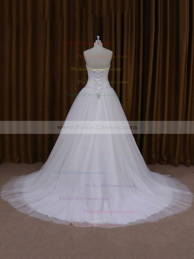 Sweetheart Ivory Tulle Beading Lace-up Princess Wedding Dresses #PDS00021705
