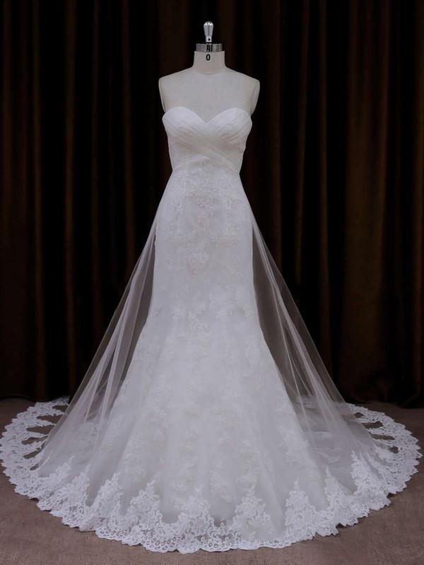 Ivory Lace Tulle Sweetheart Ruffle Trumpet/Mermaid Beautiful Wedding Dresses #PDS00021717