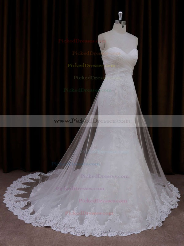 Ivory Lace Tulle Sweetheart Ruffle Trumpet/Mermaid Beautiful Wedding Dresses #PDS00021717