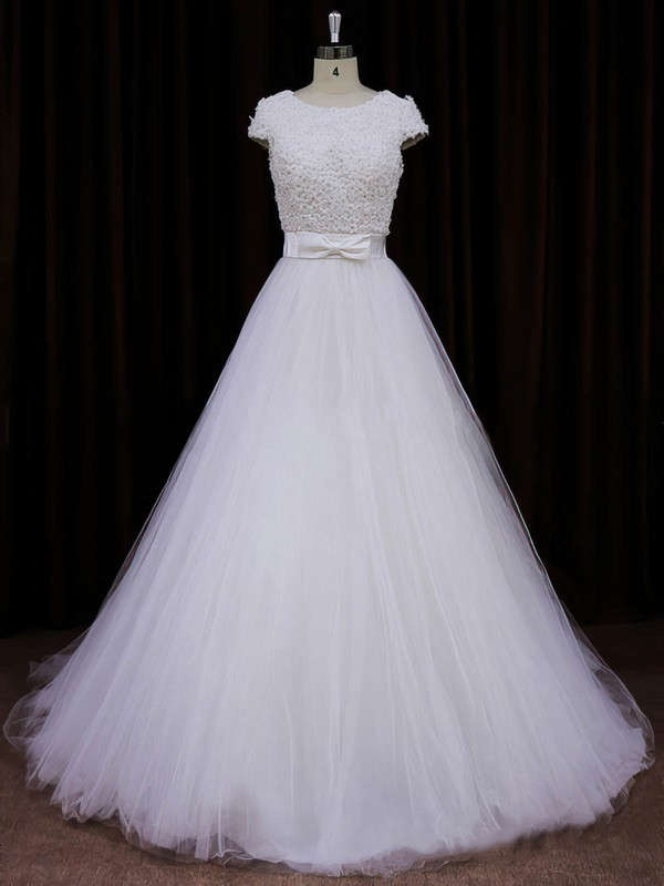 Scoop Neck Ivory Tulle Appliques Lace Cap Straps Princess Wedding Dresses #PDS00021745