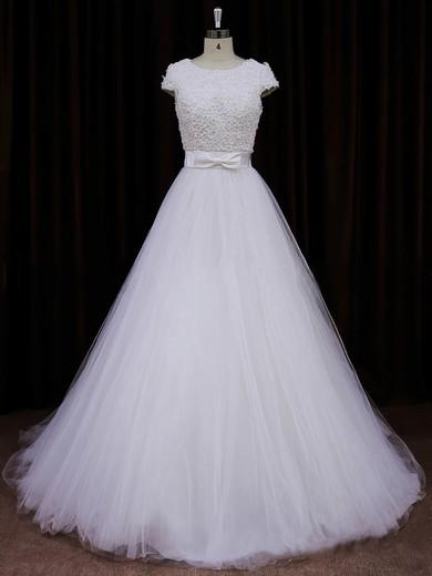 Scoop Neck Ivory Tulle Appliques Lace Cap Straps Princess Wedding Dresses #PDS00021745