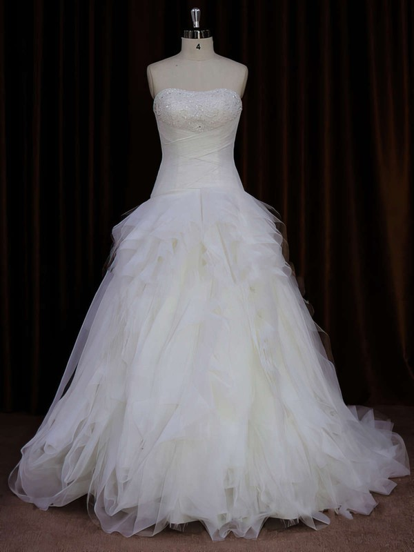 Strapless Ivory Tulle Beading Fashion Sweep Train Wedding Dress #PDS00021766