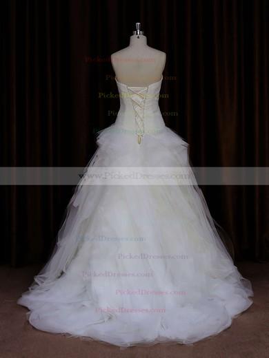Strapless Ivory Tulle Beading Fashion Sweep Train Wedding Dress #PDS00021766