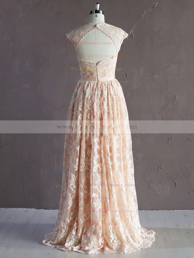 A-line Pink Lace Sashes/Ribbons Trendy Sweetheart Wedding Dress #PDS00021771