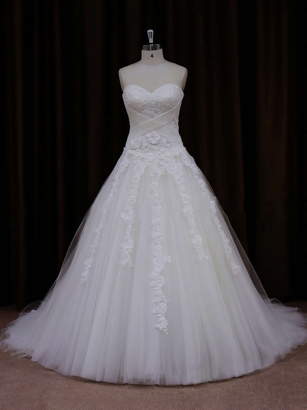 Princess Popular Tulle with Appliques Lace Sweetheart White Wedding Dress #PDS00021772