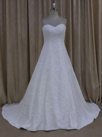 Gorgeous Sweetheart Ivory Tulle Appliques Lace Court Train Wedding Dress #PDS00021773