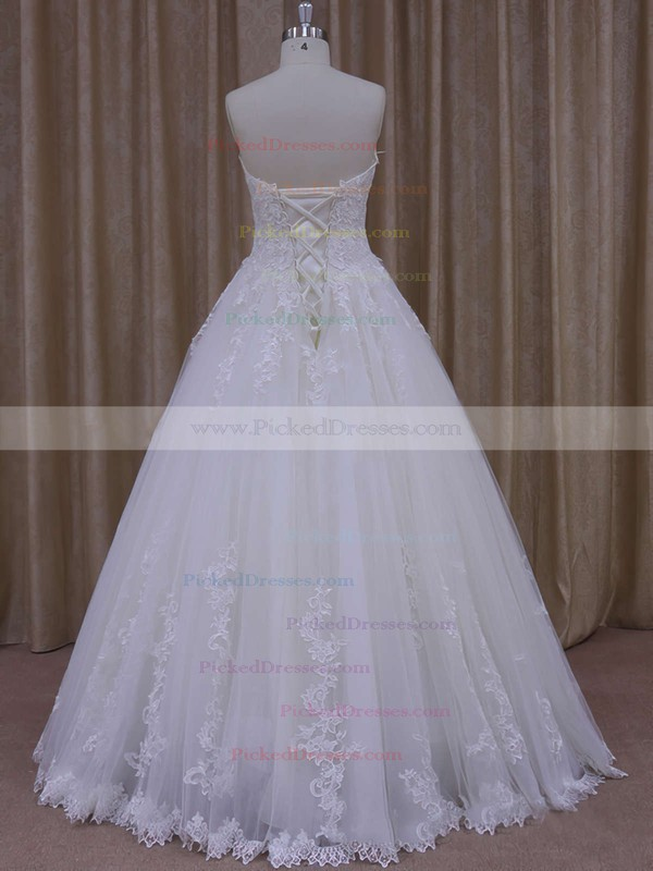 Ball Gown Graceful Tulle Appliques Lace Ivory Floor-length Wedding Dress #PDS00021778