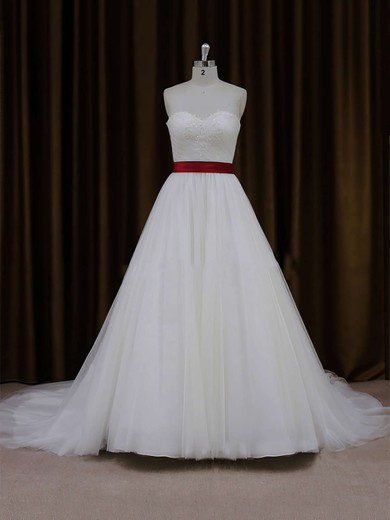 Sweetheart Sashes/Ribbons Lace-up Ball Gown Ivory Tulle Wedding Dress #PDS00021779