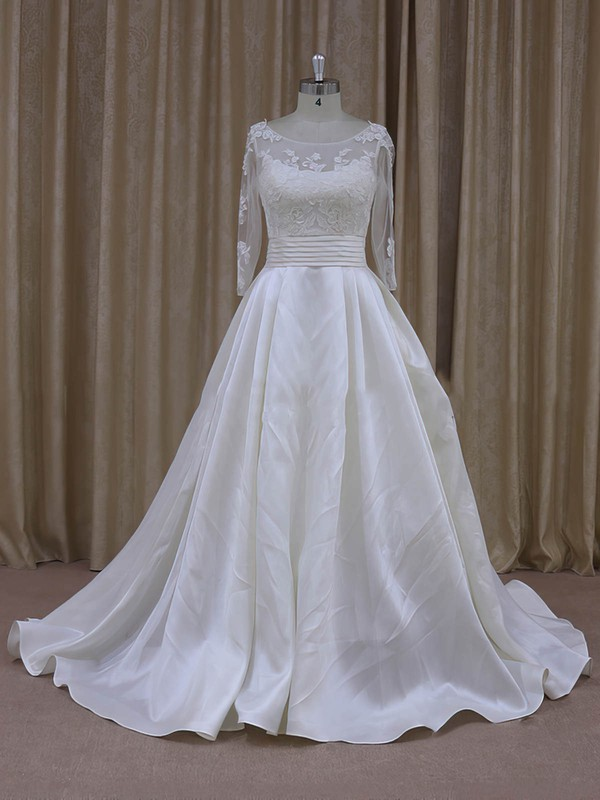 Princess Ivory Long Sleeve Tulle Taffeta with Appliques Lace Scoop Neck Prom Dress #PDS00021781