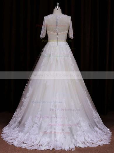 Ivory Short Sleeve Court Train Lace Sequins Scoop Neck Wedding Dress #PDS00021782