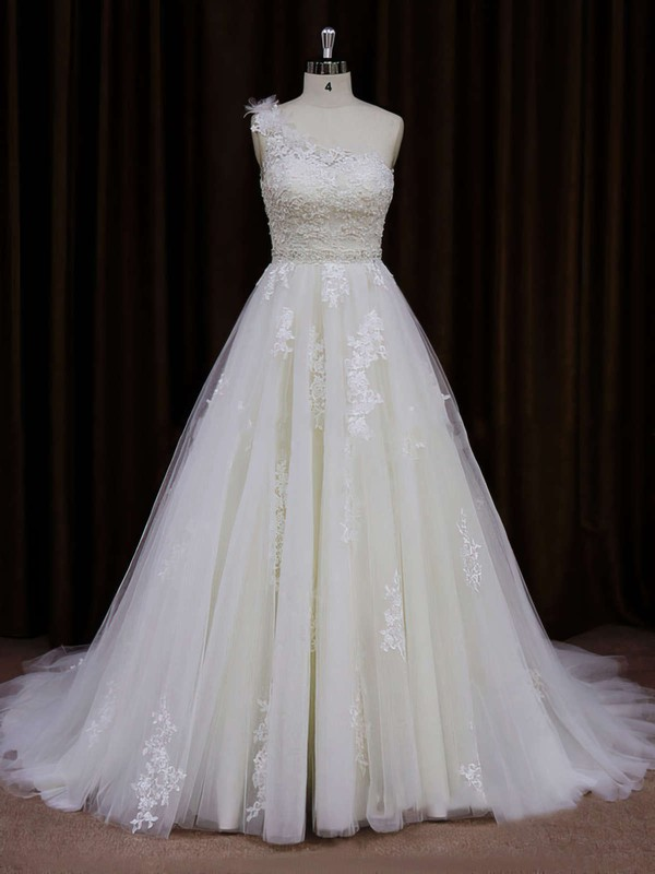Modern A-line One Shoulder Tulle Appliques Lace Ivory Wedding Dress #PDS00021784