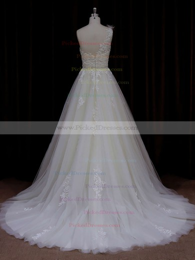 Modern A-line One Shoulder Tulle Appliques Lace Ivory Wedding Dress #PDS00021784
