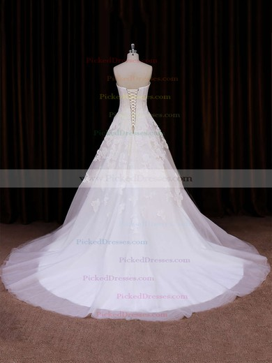 Ivory Tulle Ball Gown Lace-up Appliques Lace Chapel Train Wedding Dress #PDS00021785