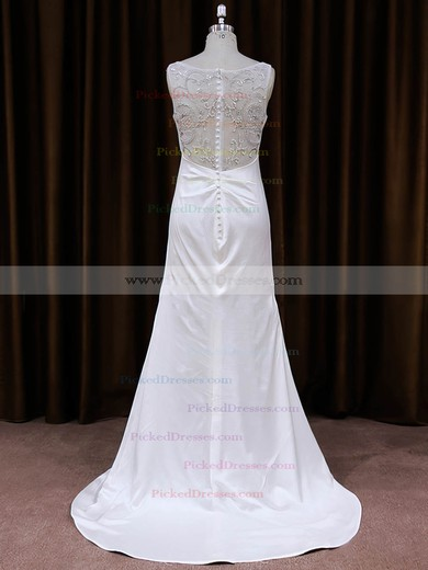 V-neck White Tulle Silk-like Satin Sequins Sheath/Column Wedding Dress #PDS00021787